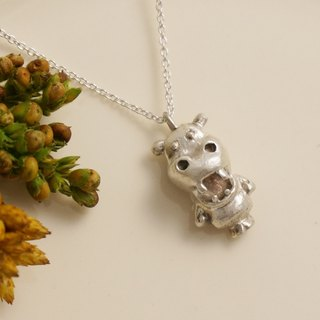 Fancy Moon * laughing hippos ‧ silver necklace ‧925
