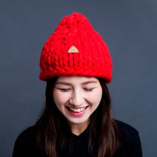 【MOUNTAIN HAND MADE】100% wool beanie /Red