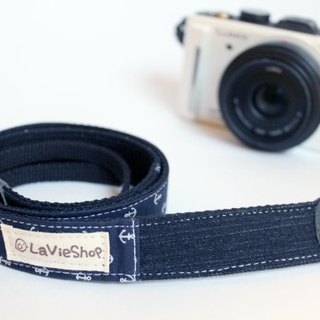 Summer Navy anchor (Deep blue) 25mm Handmade Camera strap GF/NEX/DLSR/M43