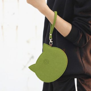 Wool felt cat carry bag Portable package / wrist strap attached -Matcha green cat cat Matcha