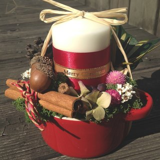 [Christmas Nuanwei limited] warm red candle and dried flower pot ritual exchange of gifts