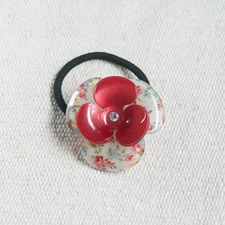 Summer flower, three flowers, tress, hair band - Red