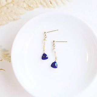 Rich electric blue natural high quality lapis lazuli water drop simple earrings 14K GF gift natural stone