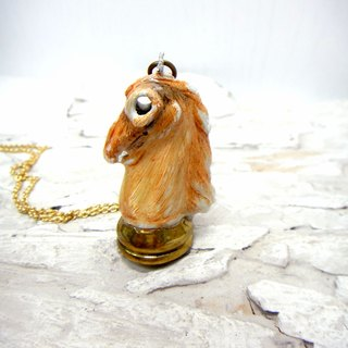 Brass brown hand painted vintage horse chess board Epoxy Necklace