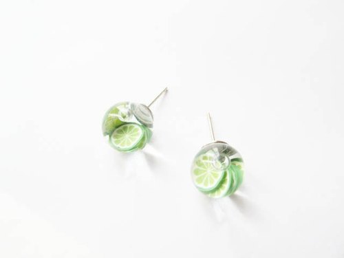 *Rosy Garden*Lime water inside glass ball stud earrings