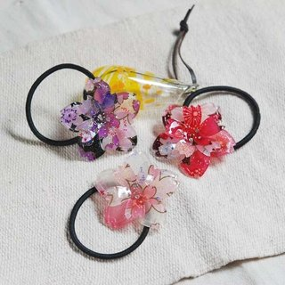 Sakura soft, big double cherry, hair bundle, hair ring - three colors