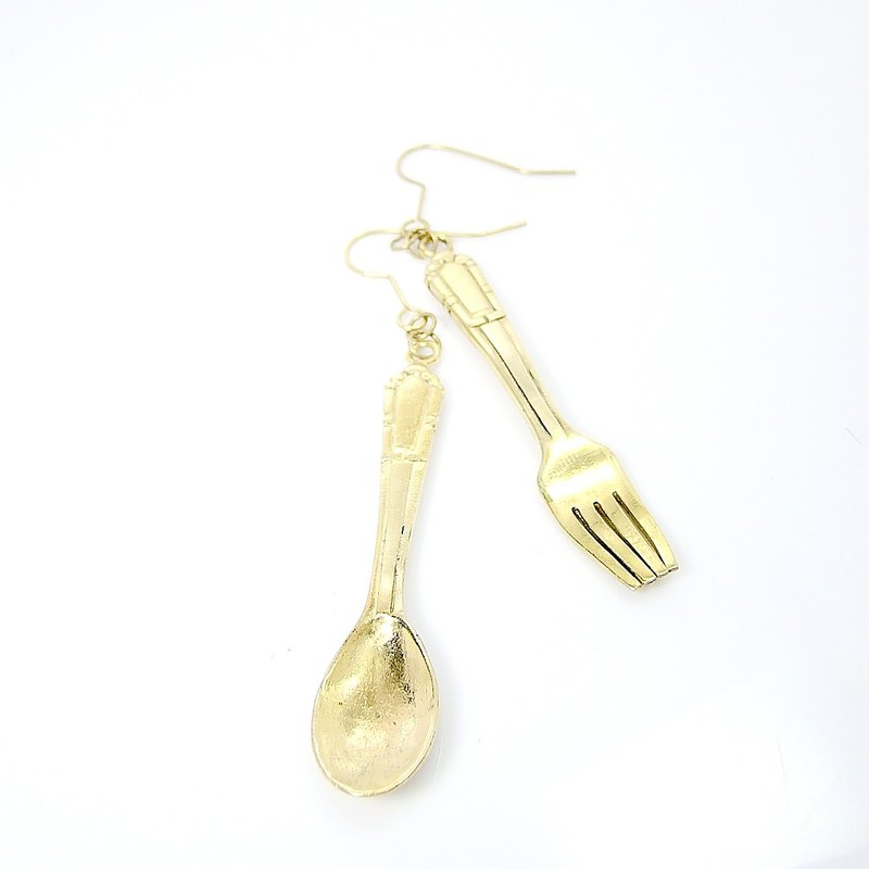 spoon and fork  earring  in brass hand sawing