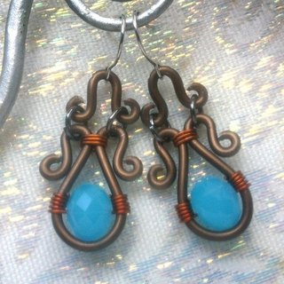Wire Dance earrings - light blue protein
