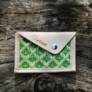 Contacts / ticket clip - Bamboo (Small Green Grid)