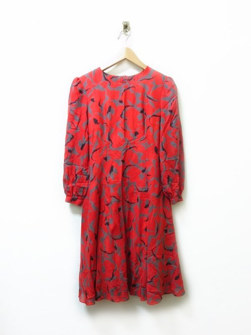 Red jelly crack gray dress vintage buckle