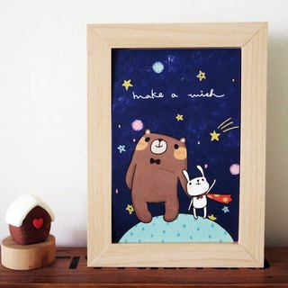 Postcard Postcard - Bear & Bunny Superman alone Wishing meteor