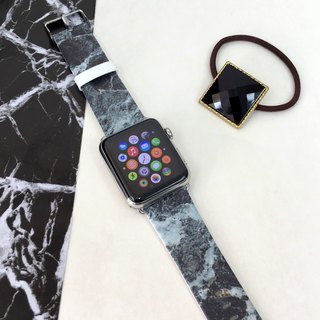 Apple Watch Series 1 ,Series 2 and Series 3 - Faux Charcoal Marble Printed on Genuine Leather for Apple Watch Strap Band 38 / 42 mm - 03
