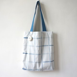 S.A x Line, Indigo dyed Handmade Checks Pattern Tote Bag
