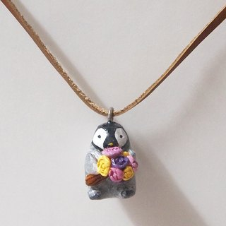 Penguin and flowers handmade necklace
