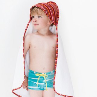 Nordic Organic Cotton Hooded Child Bath Towel / Beach Turban Striped Yellow One Size