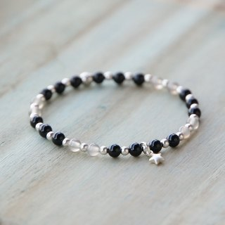 ITS-B367 [natural stone, static night sky] gray agate / black agate / elastic bracelet.