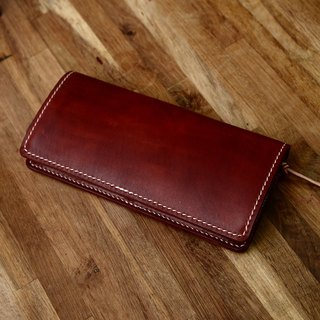Hand-made hand-made handmade jar Japanese dark brown vegetable tanned leather Changcai Spurgeon leather wallet long wallet