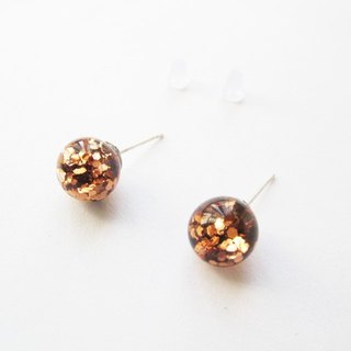 * Rosy Garden * Caramel brown glitter with water inside glass ball earrings