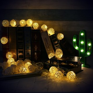 "HomePlus LED Atmosphere Rattan Ball Lights - White ""Battery"" 2m long"