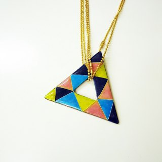 Triangle triangular shape enamel necklace (worn-sided) / Bowie show wear section