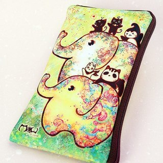 Illustration style cell phone pocket - [Elephant flower]