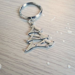 Christmas tree (925 sterling silver key chain) - C percent handmade jewelry
