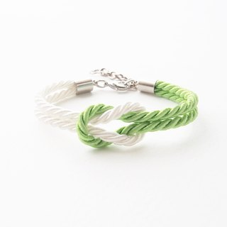 Lime and White rope knot bracelet