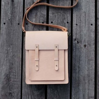 Nude Color Handmade vegetable tanned genuine leather satchel messenger bag