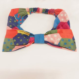 colorful hair bow wave point with patchwork vintage Japanese street shooting