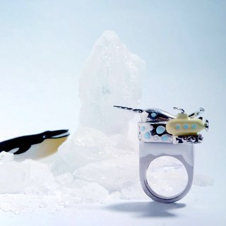 Narwhal and Little Yellow Submarine Ring, Narwhal Ring, Whale Ring