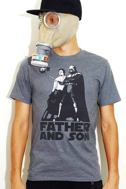 Star Wars Father and Son 100%纯棉灰色T恤 (Black Gold Label)