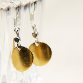 / Simple sense / sepia tone brass earrings - Microbend round Aesthetics (clip-on can be changed)