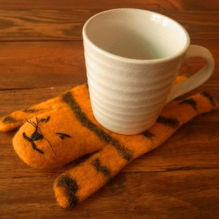 Handmade Felt tea coaster, animal tea coaster Tiger