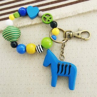 Tian heart - blue horse beaded bracelet key ring