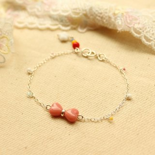 *hippie*Sprite│Lovely Pink Bow Sterling Silver Chain Bracelet with A Rainbow Pen