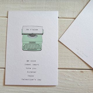 Je t'aime I love you card / lake blue typewriter postcards / Happy Valentine's Day