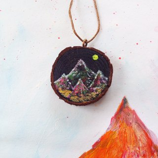Small heart painted | wood and mountains | painted | necklaces | Christmas | Gifts