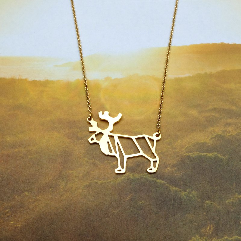 Moose, Origami Necklace, Animal Necklace, Gold plated, Animal Gift, Gift for her