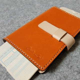 YOURS hand leather leather case passport holder. Plug-style double color with bright orange leather + primary colors