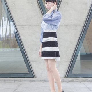 _ A high waist black and white striped dress