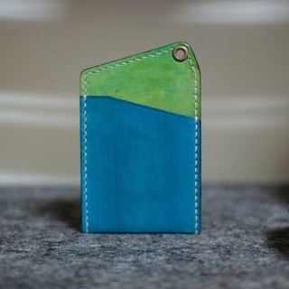 Leather handmade leather play both sides of the color-color sets of documents (without strap) _ blue + green