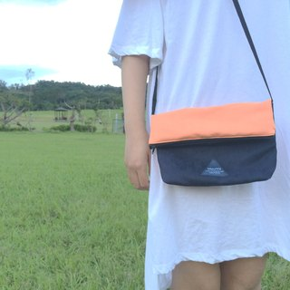 MaryWil Colorful Shoulder Bag-Orange/Dark Blue