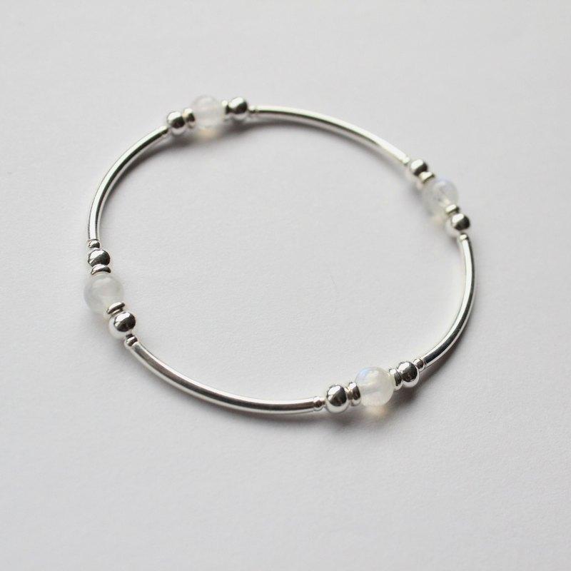 Journal(極簡入冬)-流轉的月/純銀手作、天然月光石手環手鍊