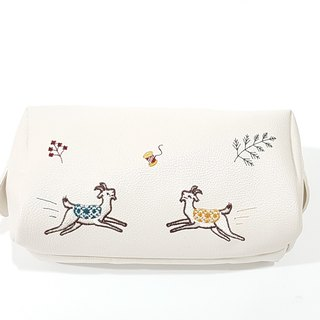 Goat Cosmetic Purse (white)
