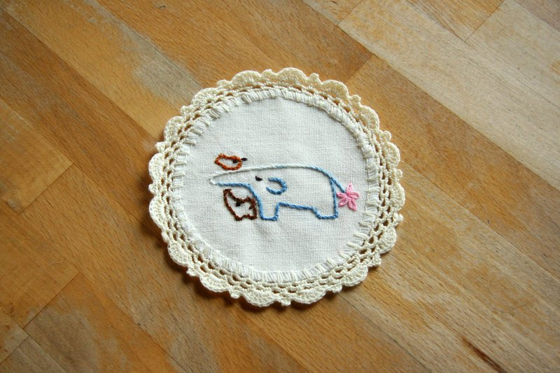 Hand-woven coasters - mother and son double as play / white cloth Fabric Coaster