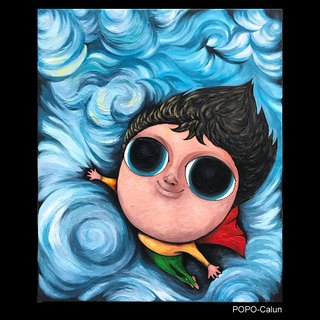 POPO │ big eyes baby │ flying. Freedom Series │ original. Frameless copy painting