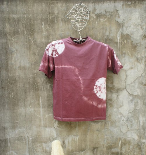 Hand tie dyed cotton tie-dyed T-shirt brown flower