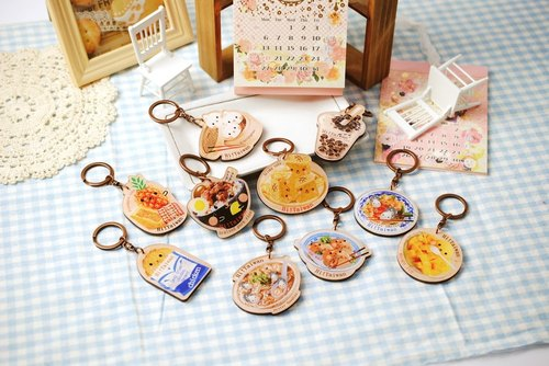Set - Taiwan specialties*wood texture*key ring lock ring / key ring ※ Customizable wooden printing commemorative gifts ※