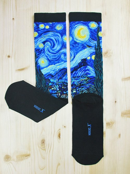 JHJ Design Canadian brand of high saturation knitting socks paintings Series - Star Socks (knitted socks) Van Gogh