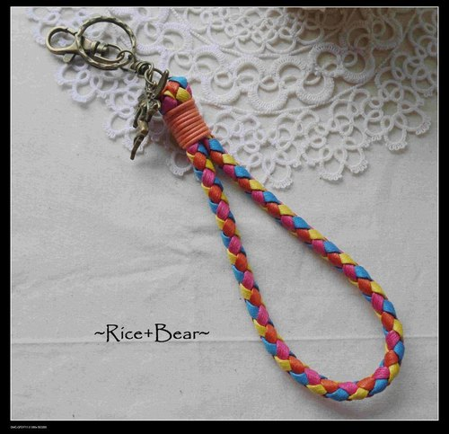 ~ M + Bear - flat wax rope braided keychain Summer Limited paragraph (rainbow blue and orange)